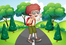 A young traveller with a backpack standing in the middle of the. Illustration of a young traveller with a backpack standing in the middle of the street vector illustration