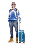 Young traveller with travel case. The young traveller with travel case isolated on white Royalty Free Stock Photography