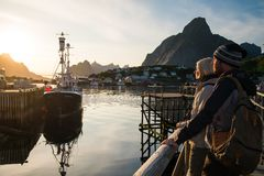 Young travellers in Reine village, Norway Stock Photos