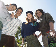 Young Trendy Friends Outdoors Stock Photos