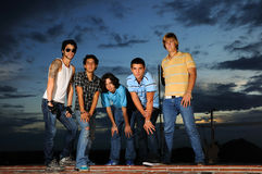 Young trendy group. Portrait of young trendy group of friends posing with attitude Royalty Free Stock Photo