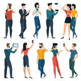 Young trendy  people with mobile phones Royalty Free Stock Photos