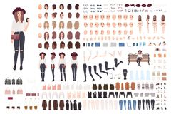 Young trendy woman or girl construction kit or creation set. Bundle of various postures, hairstyles, faces, legs, hands. Clothes, accessories. Front, side Stock Photo