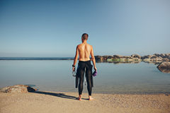 Young triathlete preparing for a race Royalty Free Stock Photo
