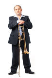 Young Trombone Player. Young man with his trombone Stock Photography