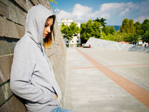 Young trouble girl. Portrait of a young girl feeling sad Stock Photo