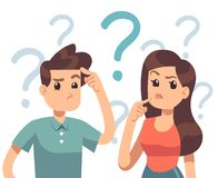 Young troubled couple. Confused woman and man thinking together. People with question marks vector illustration