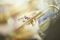 Young trumpet player. Close-up of a young trumpet player Royalty Free Stock Photos