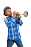Young trumpet player. Young musician plays the solo on trumpet Royalty Free Stock Photos