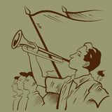 Young trumpeter. Boy playing trumpet during celebrations illustration Royalty Free Stock Image