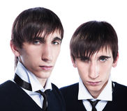 Young twins with fashion haircuts Stock Images