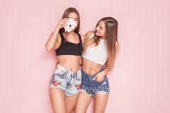 Young twins sisters taking photos. Young beautiful twins sisters taking photos, posing together on pink background royalty free stock photos