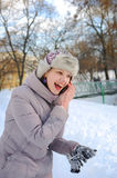 Young Ukrainian girl in a park in winter Royalty Free Stock Photo