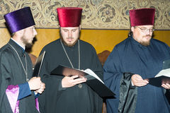 Young Ukrainian priests at the festival of Orthodox music in Bulgarian Pomorie. Pomorie - famous resort town in Bulgaria. In summer it is a popular tourist royalty free stock photography