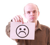 Young unhappy man with unhappy smile Royalty Free Stock Image
