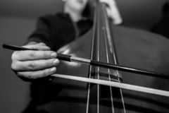 Young unidentifiable musician playing on the double bass stock photos