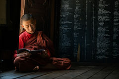 Young unidentified Buddhist monk learning in the Shwe Yan Pyay monastery school Stock Photos