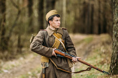 Young unidentified re-enactor dressed as Soviet Stock Photography