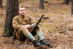 Young unidentified re-enactor dressed as Soviet Stock Images
