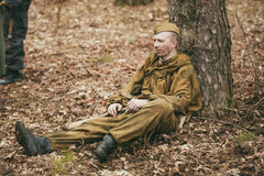 Young unidentified re-enactor dressed as Soviet Royalty Free Stock Image