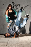 Young urban couple dancers hip hop dancing urban Stock Photos