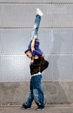 Young urban couple dancers hip hop dancing urban. Scene royalty free stock images