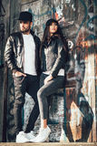Young urban couple posing Stock Image