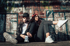 Young urban couple posing Stock Images