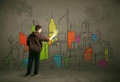 Young urban painter drawing Stock Photos