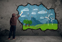 Young urban painter drawing Royalty Free Stock Photo