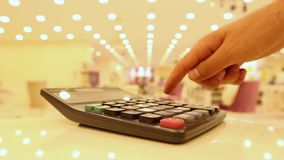 Young using calculator with finger. 1920x1080 stock footage