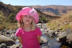 Young vacation girl on relaxing at river Royalty Free Stock Photography
