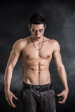 Young Vampire Man Shirtless, Gesturing to Camera. Portrait of a Young Vampire Man Shirtless, Showing his Torso, Chest and Abs, Looking at the Camera, on Dark Stock Photo