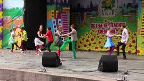 Young variety actor. Young singers and dancers. Boy and girl singing a song and dancing stock video footage