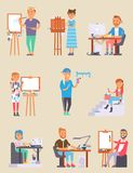 Young vector artist designer creative people in studio during pain work. Portrait drawing female artist creative people vector illustration