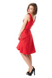 Young very attractive female in red dress Stock Images