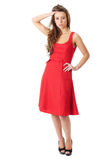 Young very attractive female in red dress Stock Photography
