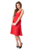 Young very attractive female in red dress Royalty Free Stock Photography