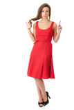Young very attractive female in red dress Stock Photos