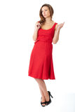 Young very attractive female in red dress Stock Photo