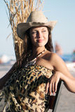 Young and very attractive woman with straw hat Royalty Free Stock Photos