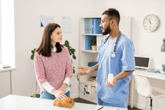 Consulting about medicine stock image