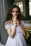 Young victorian lady. Portrait of a beautiful young victorian lady in white dress Royalty Free Stock Photos