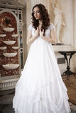 Young victorian lady in white dress Stock Photo