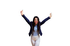 Young victory business woman Stock Photos