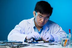Engineer concentrated on work stock photos