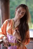 Young vikig girl stock photo