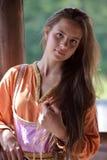 Young vikig girl royalty free stock photography