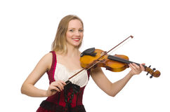 Young violin player isolated Royalty Free Stock Photography
