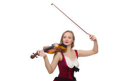 Young violin player isolated Stock Images